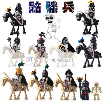 Single Sale Skeleton Knights Medieval Castle Knights Skeleton Knights Building Bricks Blocks Toys Children Gifts AX9815 фото