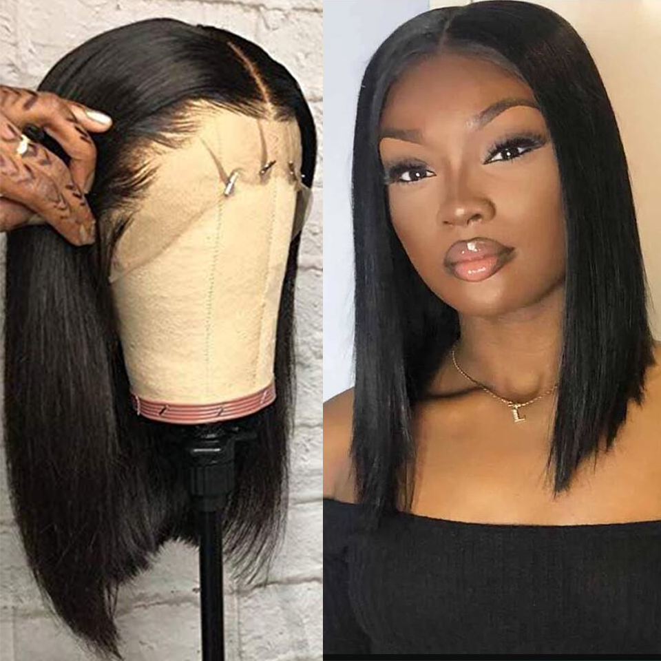 Short Bob 13x4 Lace Front Wigs Malaysian Hair Straight Blut Cut Wig For Black Women Wigs Pre Plucked With Baby Hair Non Remy