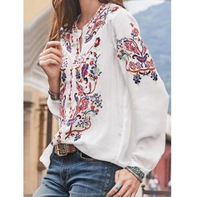 Large size blouse spot new women's wide loose shirt printed long sleeve shirt shirt women