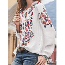Large size blouse spot new women's wide loose shirt printed long sleeve shirt shirt women