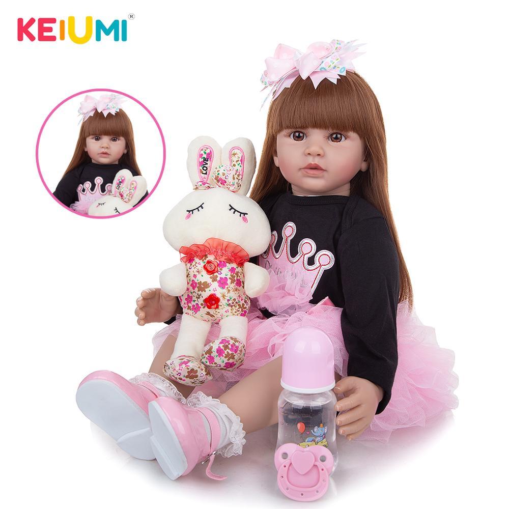 Популярные куклы реборн KEIUMI 60 см, мягкие силиконовые набивные реборны для девочек, красивые игрушки-подушки в подарок