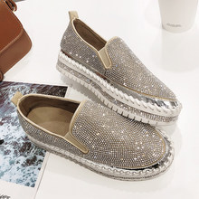 loafers shoes women luxury silver crystal slip on platform casual shoes woman shinning bling solid black flat heels shoes(China)