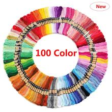 100 PCs Embroidery Thread New Arrival Cross Stitch Thread Cotton Embroidery Thread Floss Skein Kit DIY Sewing Tool tanie tanio 260g Linen Cotton Mercerized Knitting Hand Knitting TH006-Fixed Filament Low Shrinkage embroidery thread storage cross stitch cotton thread