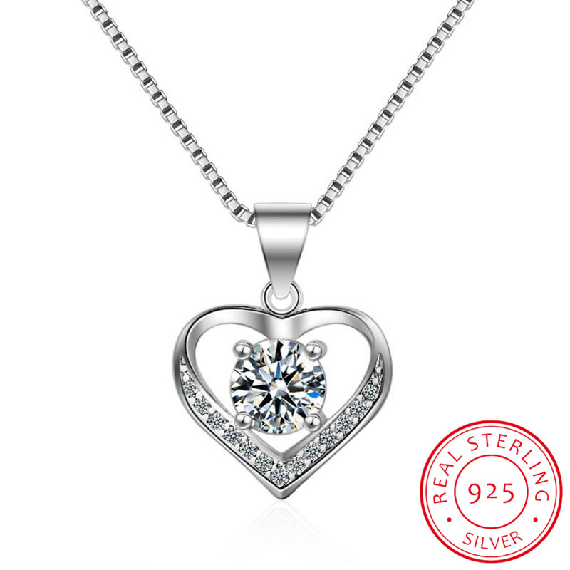 Classic 925 Sterling Silver Necklace Mosaic CZ Zirconia Heart Shape Pendant Necklace For Women Gift Chain Choker S-N175