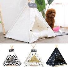 Tipi de chien de chat de compagnie avec le coussin et le tableau noir, tentes portatives de chien et maisons pour animaux de compagnie, lit de petits animaux de tente de pli de Tipi de toile en bois