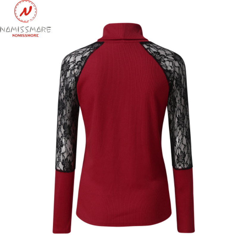 Elegant Women Spring Autumn T-Shirts Hollow Out Design Lace Decor Half High Collar Long Sleeve Slim Pullovers Top 6