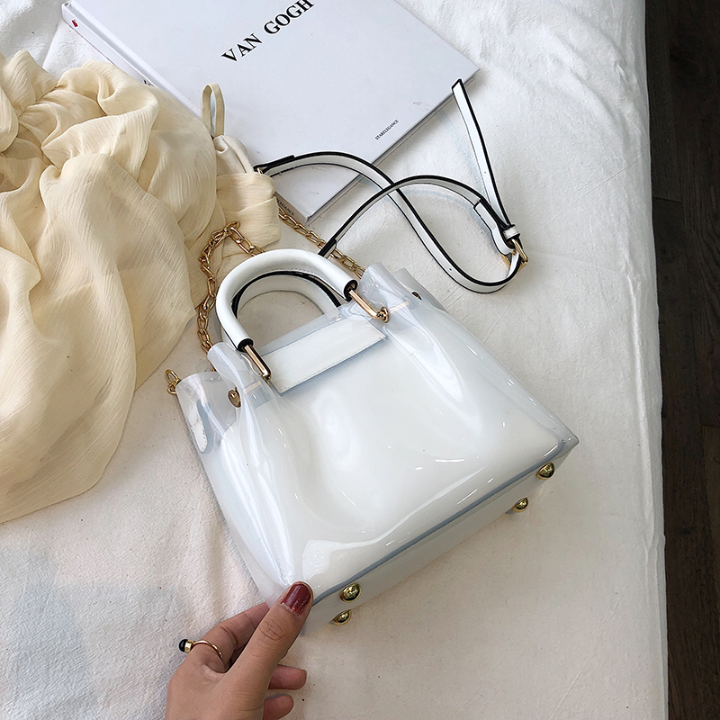 Women Jelly Bag Fashion Shoulder Waterproof  Youth Ladies High Quality Bucket Simple Large Capacity Handbag Double