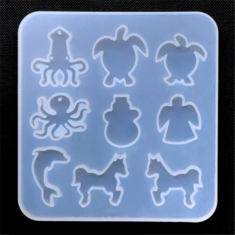Marine Life And Animal Silicone Mold Squid Sea Turtle Octopus Angel Dolphin Horse Mold Resin Mold Supplies Jewelry Making Tools