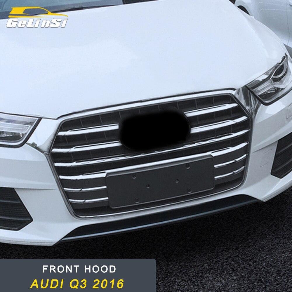 GELINSI capot avant milieu Net pare-chocs Grille cadre autocollant couverture garniture accessoires extérieurs pour Audi Q3 2016 2017 2018 style de voiture