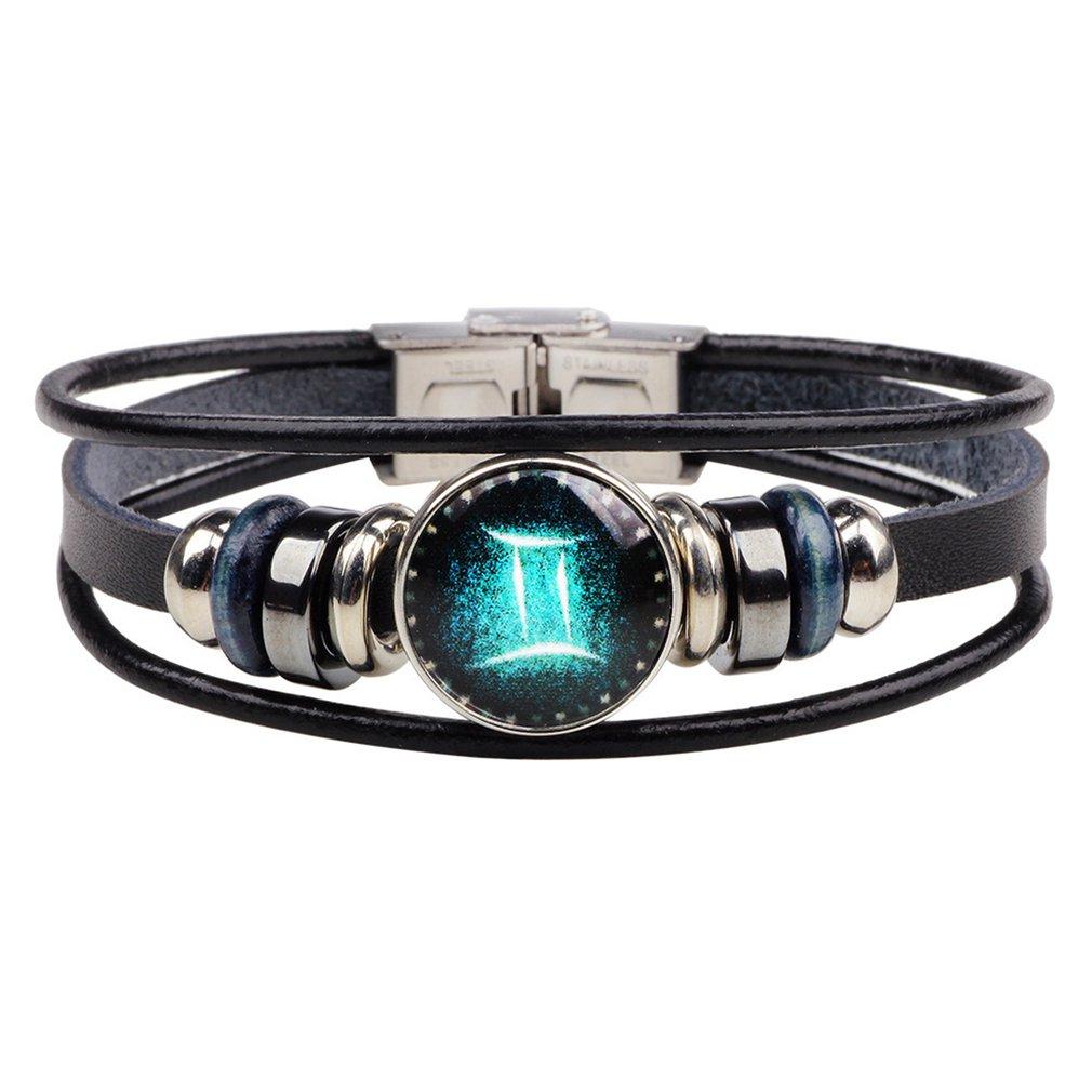 Twelve браслеты с изображениями созвездий ручной работы ретро кожаный браслет Созвездие браслет сделай сам панк пара кожаных украшений