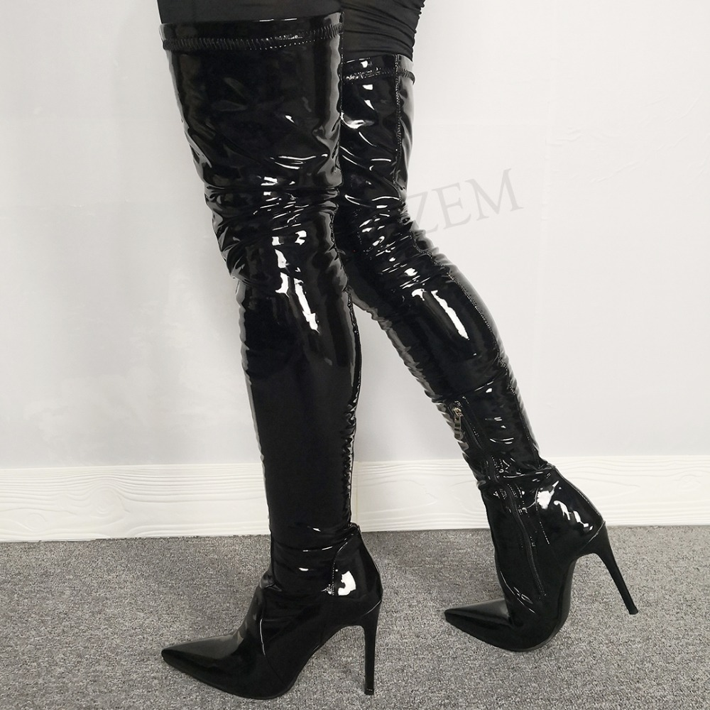 LAIGZEM Extrem Wetlook Women Thigh High