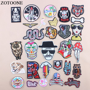 Аппликации ZOTOONE в стиле милитари для одежды, аппликации в виде черепа, совы, цветов, змей, букв, блесток