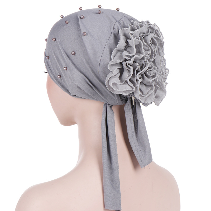 2019 Ruffled Big Flower Scarf Cap Turbans For Women Beading Cotton Inner Hijab Caps Islamic Underscarf Bonnet Indian Hat