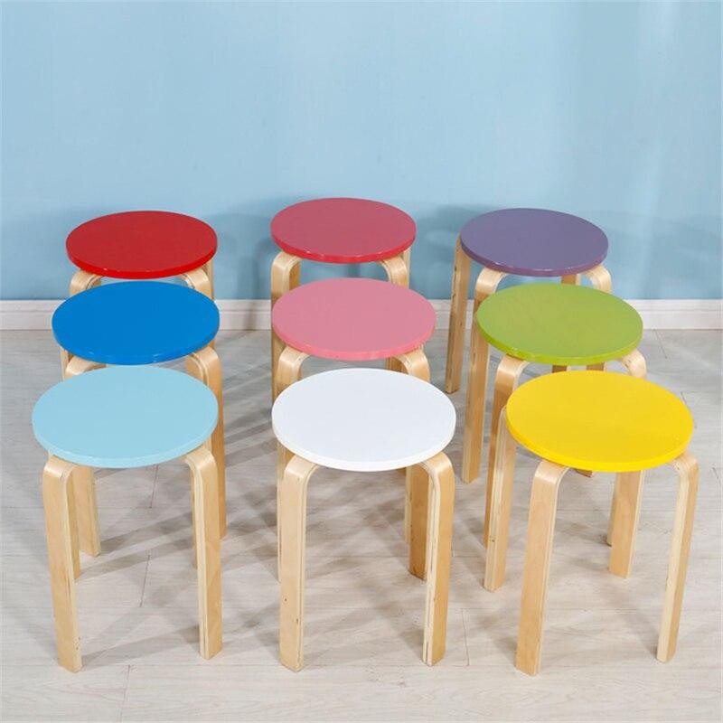 Tabouret en bois coloré enfants meubles en bois tabouret rond Restaurant maternelle tabouret en bois rond Simple chaise de loisirs moderne