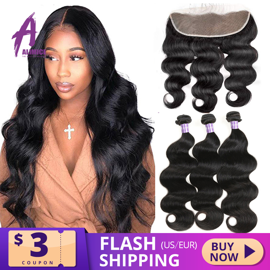 Alimice Body Wave Human Hair Bundles With Frontal Indian Hair Weave 3 Bundles With Closure 13*4  Preplucked Remy Hair Extensions