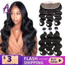 Alimice גוף גל שיער טבעי חבילות עם פרונטאלית הודי שיער Weave 3 חבילות עם סגירת 13*4 preplucked רמי שיער תוספות