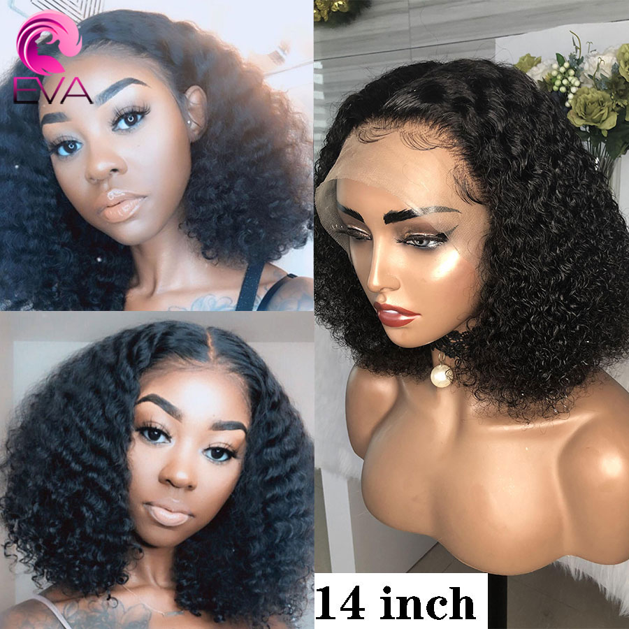 Eva Hair 180% 360 Lace Frontal Human Hair Wigs Pre Plucked Cheap Short Bob Curly Remy Hair Wigs With Baby Hair For Black Women