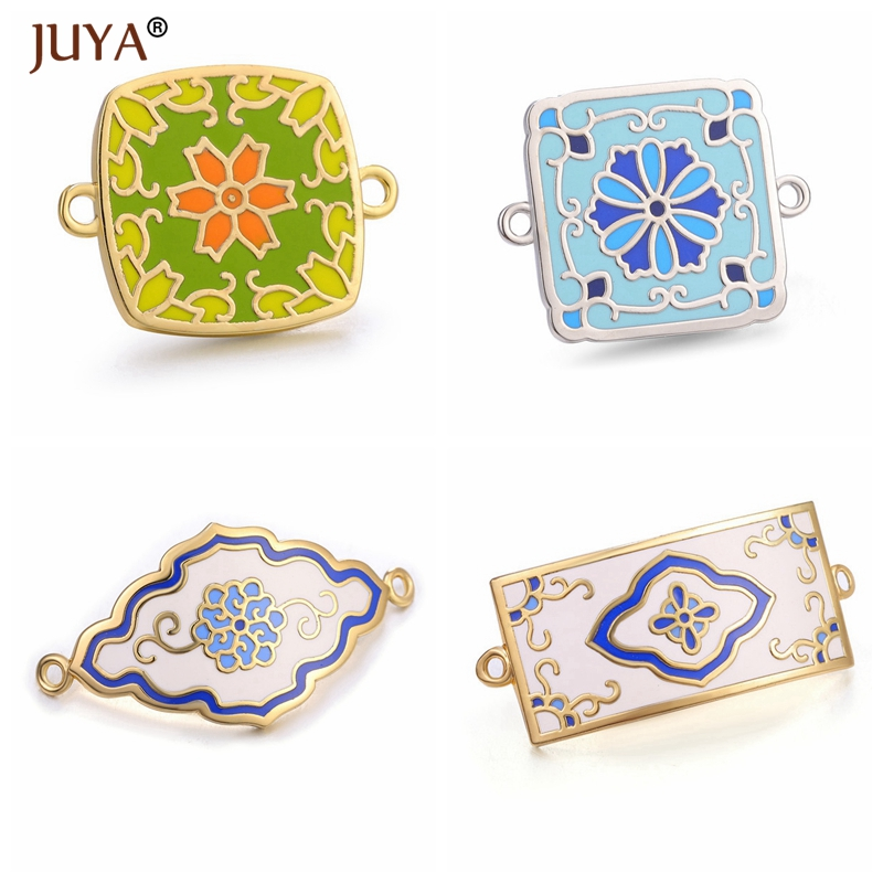 Juya Latest High Quality Copper Metal With Colour Enamel Design Charm Connectors Accessories For Jewelry Making DIY Craft