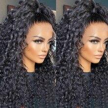 13x4 perucas de onda profunda pré arrancadas brasileiro 150% perucas de cabelo humano encaracolado de água 28 30 polegada 4x4 peruca de fechamento do laço para a mulher preta