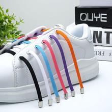 1 Pair No Tie Shoe laces Elastic Shoelaces White Flat No Tie Shoelaces Press the metal lock Fast Shoelace cheap tilusero CN(Origin) Solid RT-043 Polyester