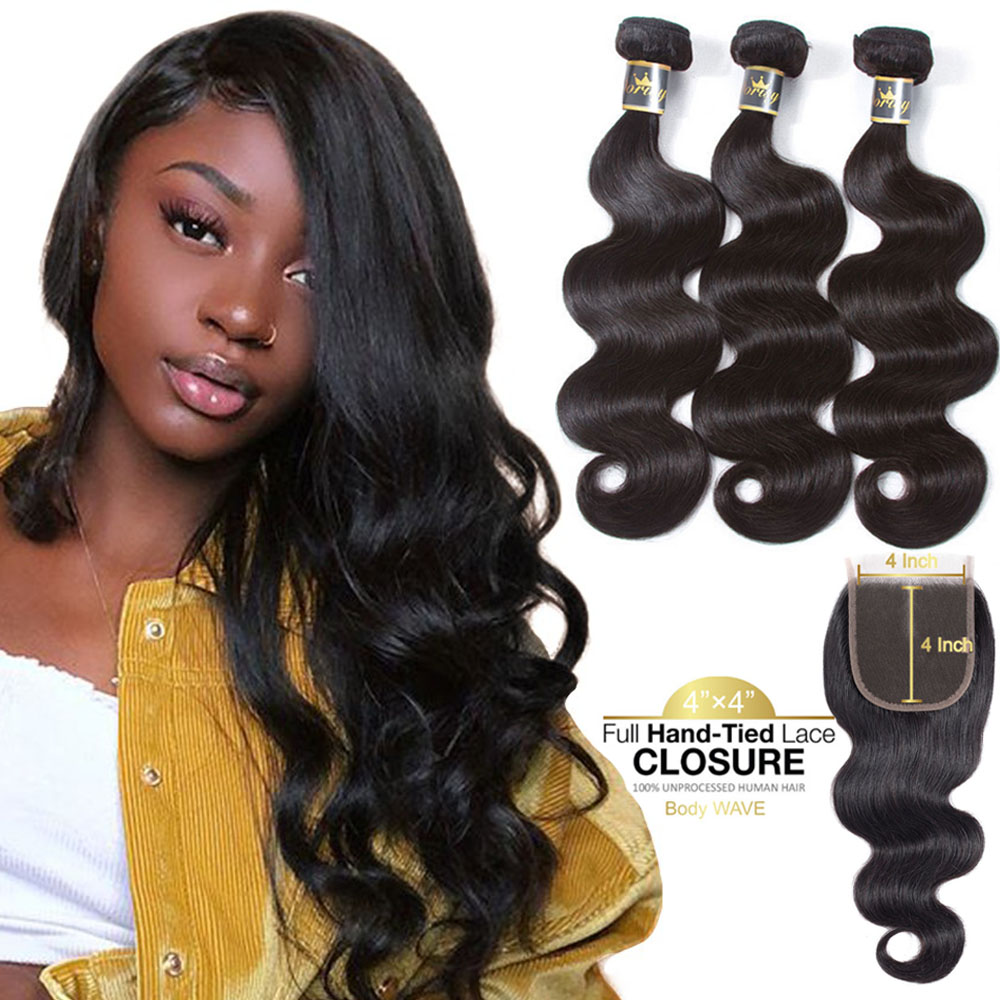 Body Wave Human Hair Bundles With Closure Brazilian Human Hair Bundles With Closure Lace Closure With Bundles Non Remy Hair