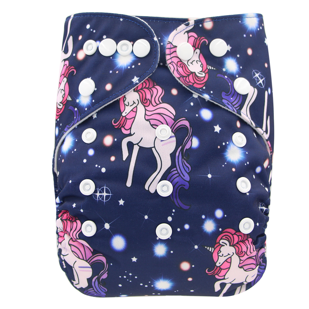 Baby Cloth Diapers Unicorn Animal Pattern Infant Kids Nappies Reusable Diaper Cover Waterproof Washable Pocket Diaper Fit 3-15Kg