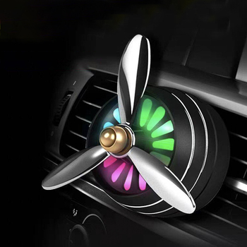 Mini LED Car Smell Air Freshener Conditioning Alloy Auto Vent Outlet Perfume Clip Fresh Aromatherapy Fragrance Atmosphere Light image