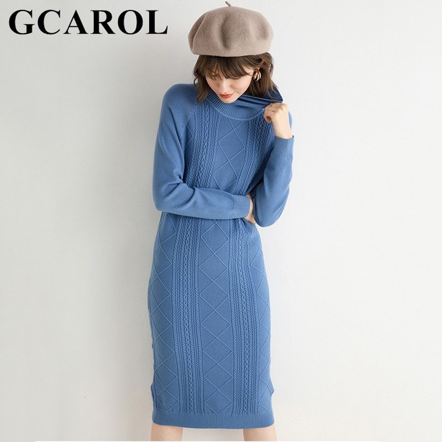 GCAROL Autumn Winter Women Turtleneck Cashmere Dress Twist Floral Medium Length Warm Elegant Minimalism Knit Bottomed Dress 2XL 1