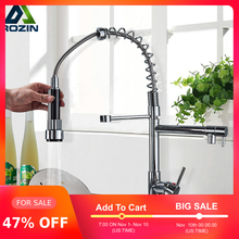 Kitchen Faucet Spring-Taps Crane Swivel Shower Hot Cold-2 Chrome Handheld Dual-Spouts
