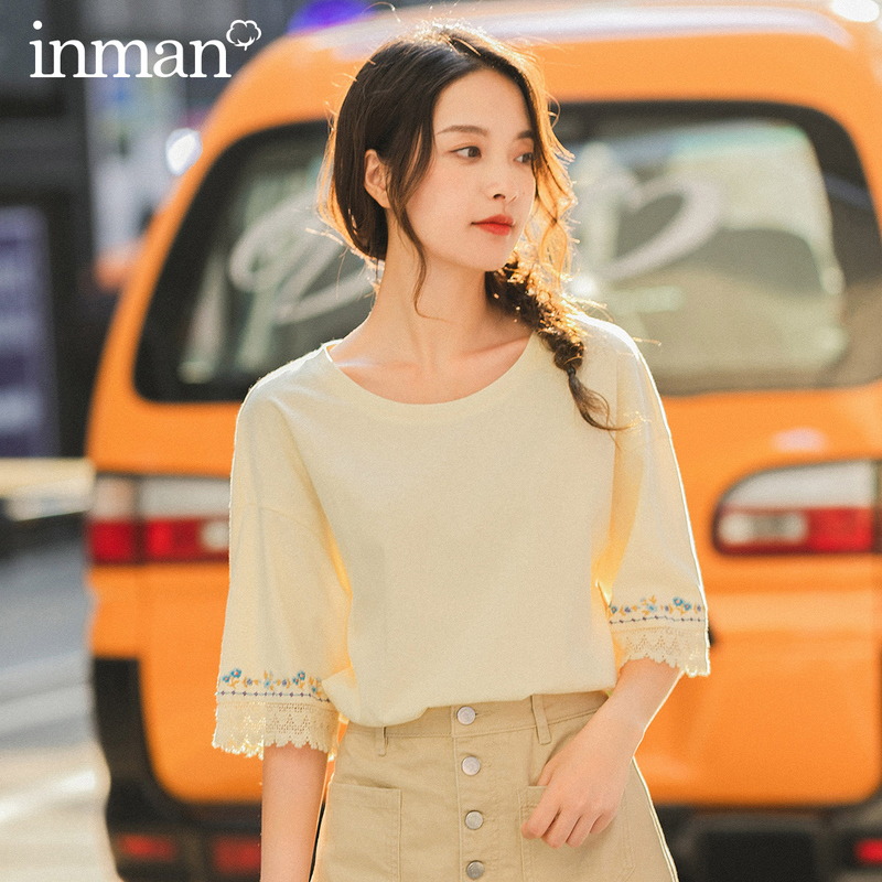 INMAN 2020 Spring New Arriavl Literary Round Collar Pure Cotton Emboidered Loose Base T-shirt