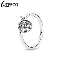 CUTEECO New Silver Color Tree of Life Crystal Rings for Women Wedding Ring Engagement Romantic Jewelry Individuality Girl Gift стоимость