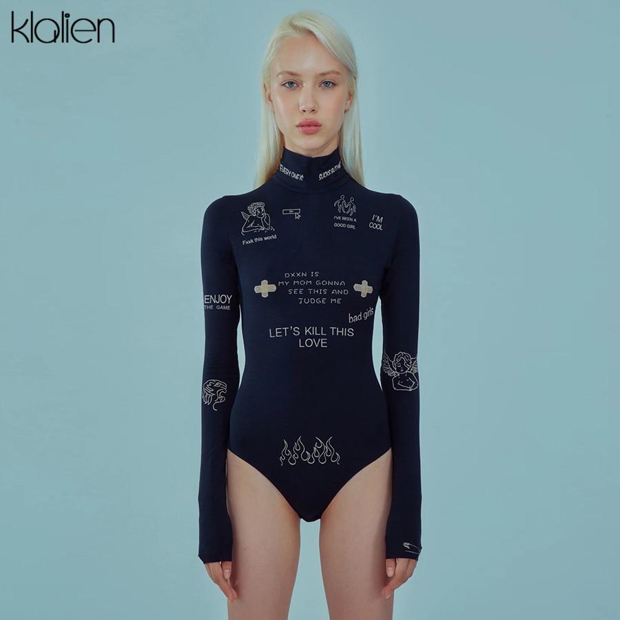 Модный облегающий Повседневный боди KLALIEN с длинным рукавом и надписью, Осеннее боди, женское простое базовое Женское боди