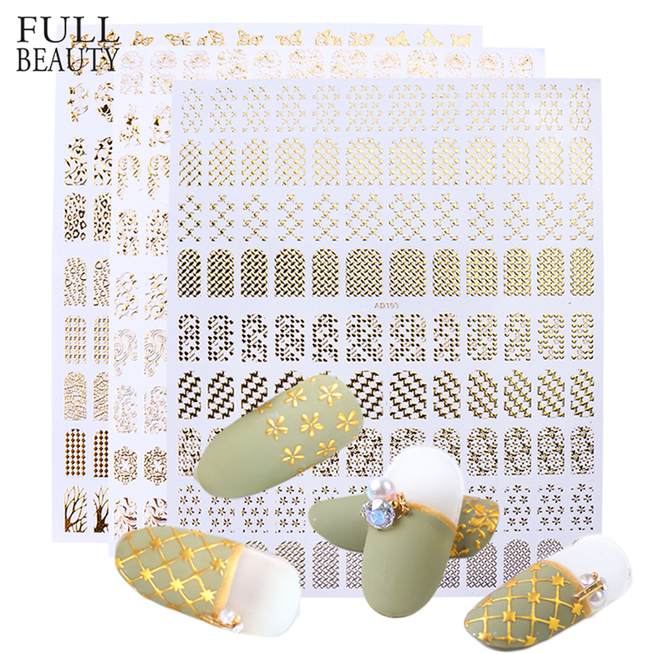 1pc 3D Gold Bronzing Stickers For Nails Leaf  Flower Decals Sliders DIY Nail Art Decorations Products For Manicure CHAD101-106-1