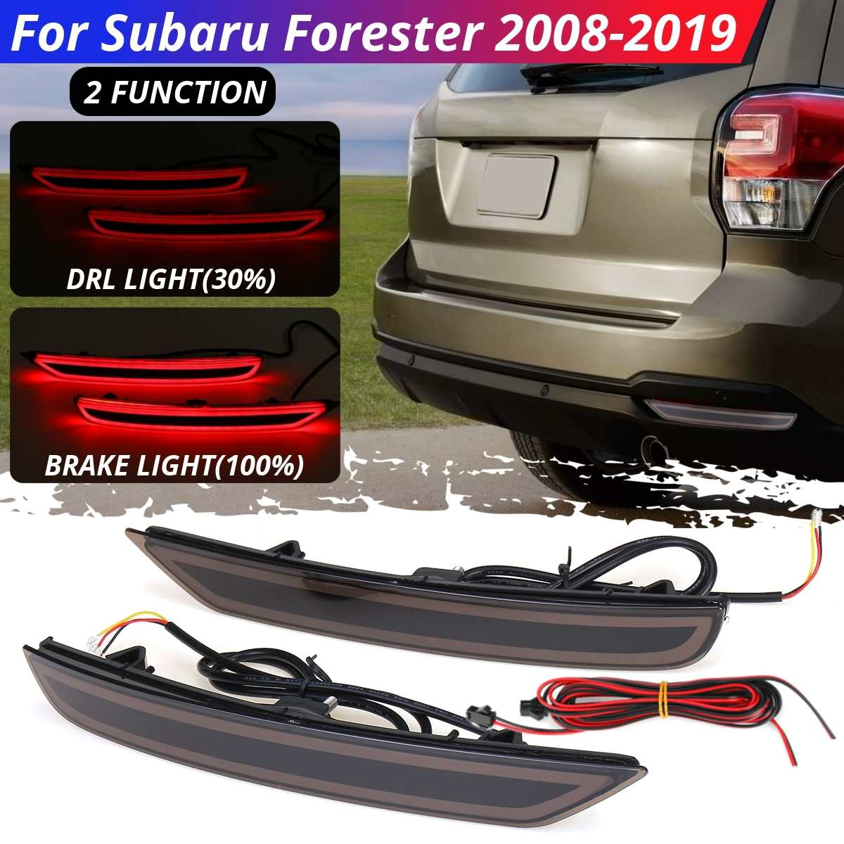 1 Pair LED Rear Bumper Reflector Light Brake DRL Turn Signal Light 2 / 3 Functions Tail Lamp For Subaru Forester 2008 2009-2019