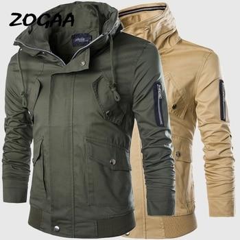 ZOGAA 2018 Plus Size Mens Jacket Autumn Winter Coat Men Special Design Overcoat Multi-pocket Windbreaker Tooling Jackets plus size letter print pocket design coat