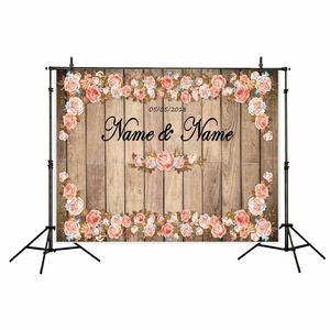 Image 4 - Allenjoy düğün fotoğrafçılığı zemin bahar rustik ahşap çiçek parti Glitter aşk arka plan perde Photocall Photozone