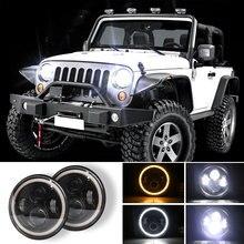 цена на 7Inch Round LED Headlights Halo Angle Eye For Jeep Wrangler CJ JK LJ 97-18 Weatherproof 280W 6500K 10-30V High/Low Beam Headlamp