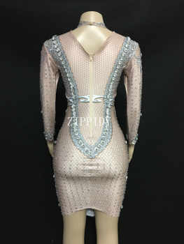 Sparkly Big Crystals Mesh Perspective Dress Evening Party Dresses Birthday Celebrate Costume Singer Performance Dance YOUDU