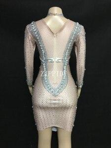 Image 5 - Świecący duże kryształy Mesh perspektywa sukienka suknie wieczorowe urodziny świętuj kostium piosenkarka wydajność taniec YOUDU