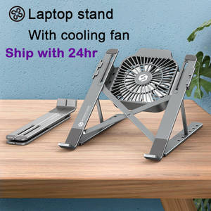 Laptop-Stand Notebook-Holder Cooling-Fan Foldable Aluminum-Alloy with for 13-17inch