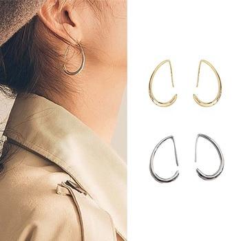 Moda Irregular aleación media luna gran gota pendientes para mujeres Simple colgante Metal media luna declaración joyería