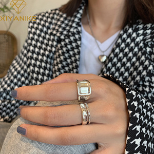 XIYANIKE 925 Sterling Silver Surface Concave Convex Irregular Ring Light Luxury Simple Fashion Double-layer Handmade Gift