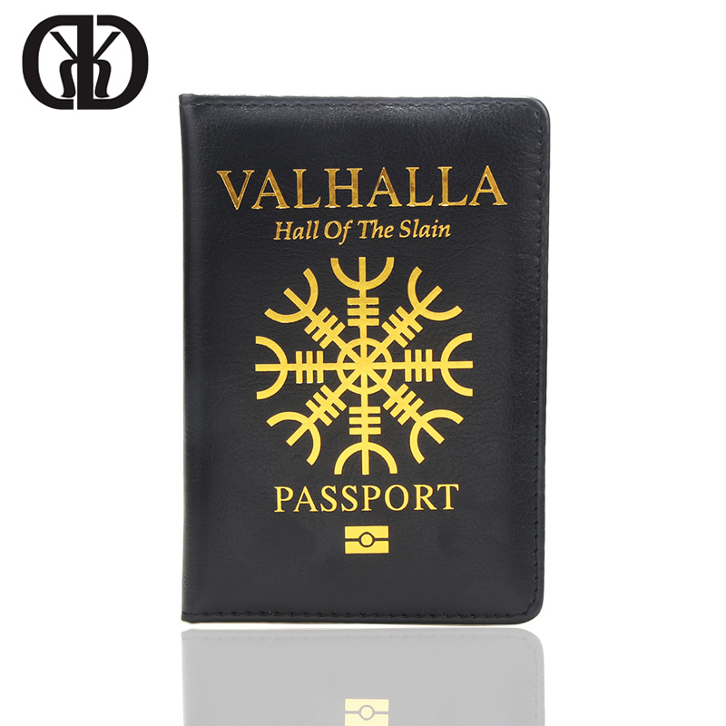 HEQUN Brand Valhalla Passport Cover Black Hall of The Slain Pu Leather Passport Holder Norse Mythology Travel Case Passport New