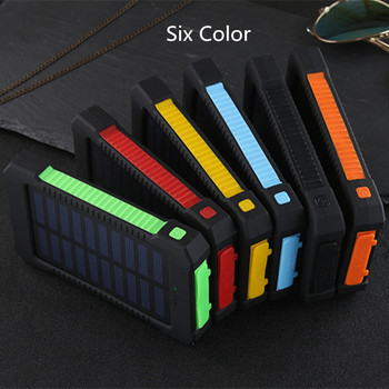 Solar Power Bank Waterproof 30000mAh Solar Charger USB Ports External Charger Powerbank for Xiaomi 5S Smartphone with LED Light 6