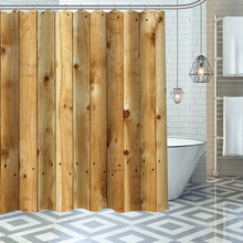 Custom High Quality Old Wood Shower Curtain Waterproof Bathroom Polyester Fabric Bathroom Curtain With Hooks