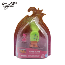 Cuifuli 8cm Trolls Toy with Fluorescent Green Hair for Children Girls Action Figure Doll Gift Box Packing 6pcs lot trolls poppy branch biggie action figure toys cartoon moive brinquedos dreamworks trolls hug time poppy figure doll toy