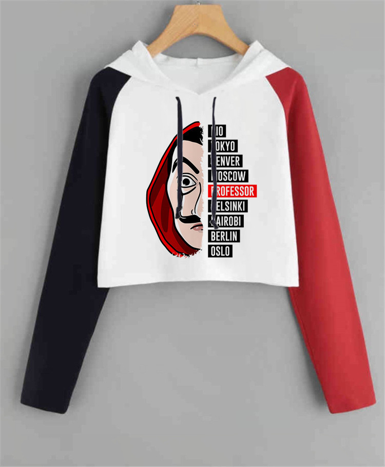 Money Heist Women Hoodie Harajuku La Casa De Papel House Of Paper Sweatshirt Funny  Casual Hood Oversized Color Matching Hoodies