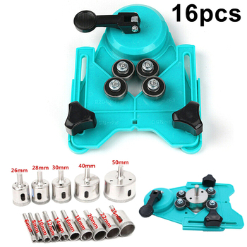 16PCS Drill Guide+Glass Drill Bit ABS Plastic Tile Glass Hole Saw Openings Locat