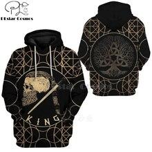PLstar Cosmos Viking Warrior Tattoo Pullover Tracksuit casual 3D Print Zipper/Hoodie/Sweatshirt/Jacket/Men's Women style-74