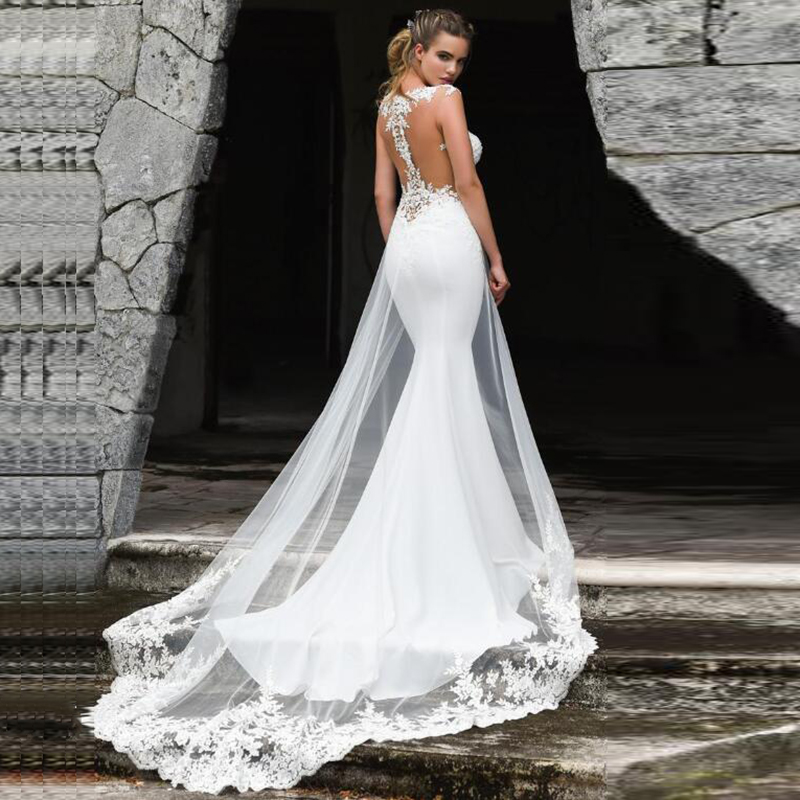 Mermaid Wedding Dress 2021 Sexy See Through Back Sleeveless Lace Appliques Wedding Gowns For Bride With Train Vestidos De Noiva 1